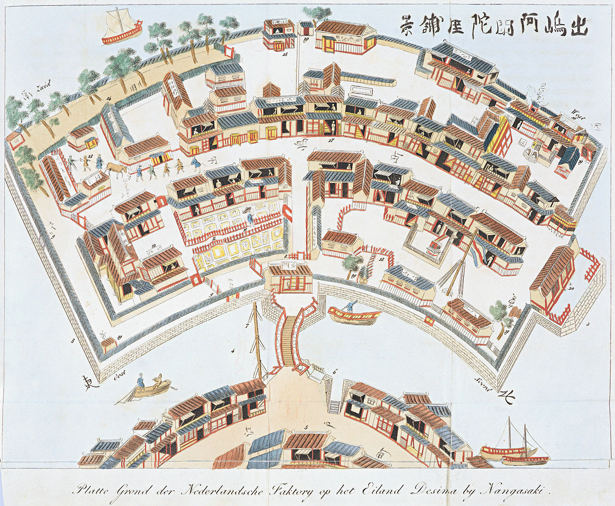 An imagined bird's-eye view of Dejima's layout and structures (copied from a woodblock print by Toshimaya Bunjiemon of 1780