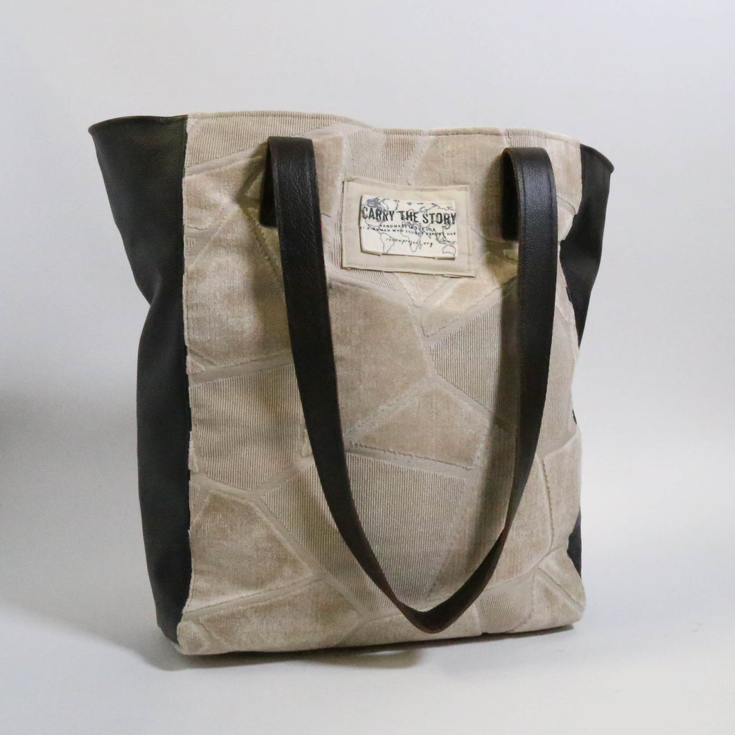 Leather Trapezio Tote