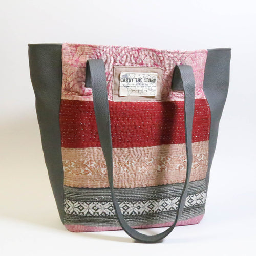 Leather Trapezio Tote- Kantha