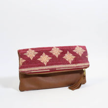 Kantha- Ahlam Leather Foldover Clutch