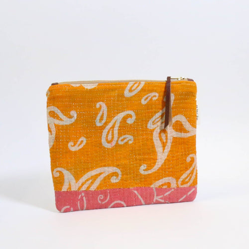 Kantha Flat Leather Clutch