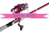 7' Pink Fishing Rod and Reel Combo