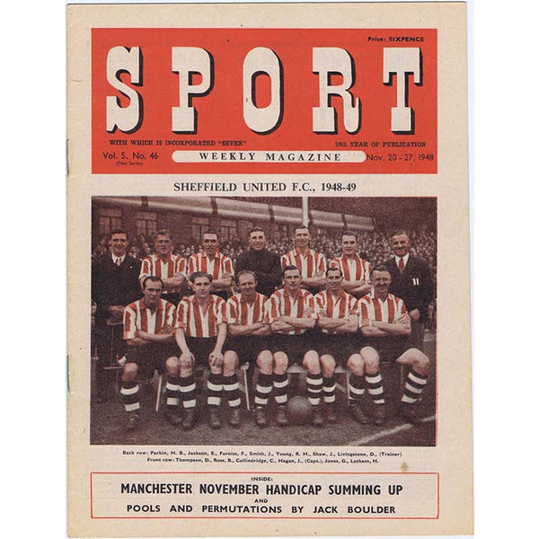 Sport Magazine | November 1948 | Newcastle United | Sheffield United | Jackie Milburn | The Mag Shop