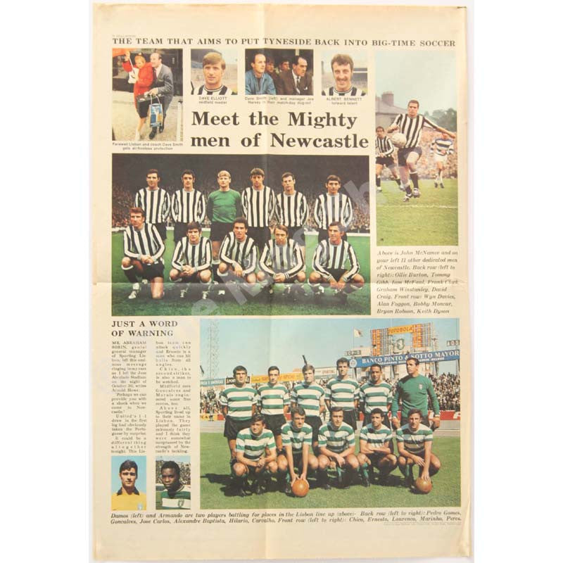 Newcastle United Fairs Cup | Daily Express Special Colour Pullout | Sporting Lisbon 2nd Round | The Mag Shop