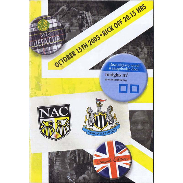 NAC Breda v Newcastle United | 15 October 2003 | UEFA Cup Programme | The Mag Shop