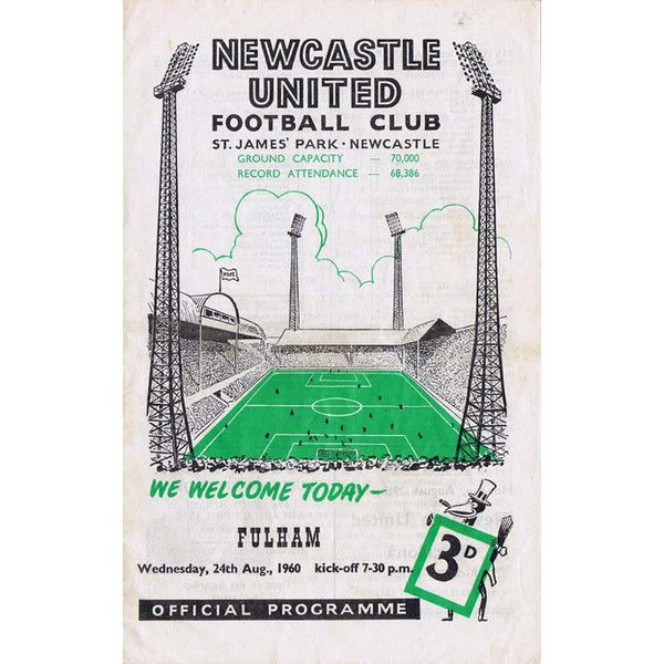 Newcastle United  v Fulham | 24 August 1960 | League Division One Programme | The Mag Shop