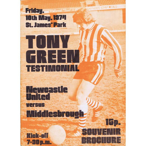 Tony Green | Newcastle United | Testimonial Match | 10 May 1974 | Souvenier Programme | The Mag Shop