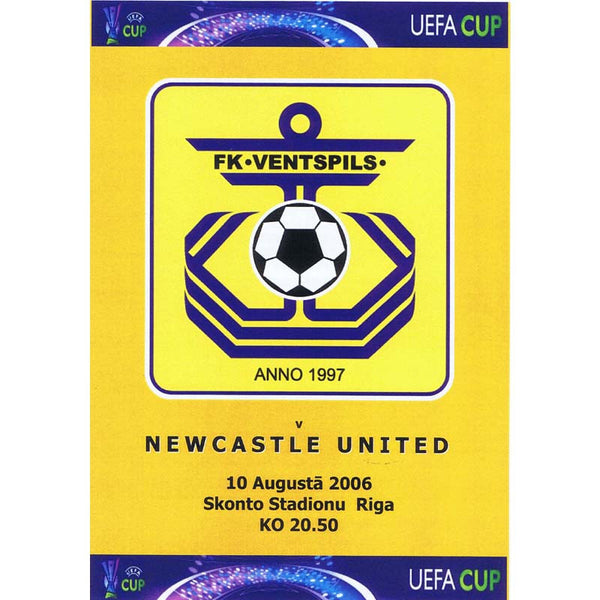 FK Ventspils v Newcastle United | UEFA Cup 10 August 2006 Pirate Programme | The Mag Shop