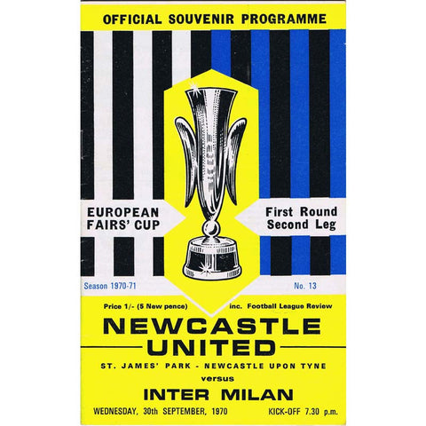 Newcastle United v Inter Milan | 30 September 1971 | UEFA Cup Programme | The Mag Shop
