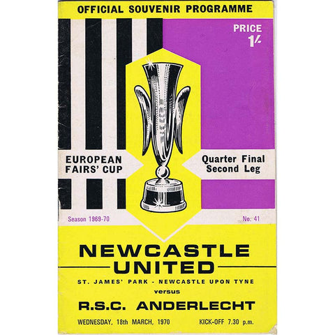 Newcastle United v Anderlecht | 18 March 1970 | UEFA Cup Programme | The Mag Shop
