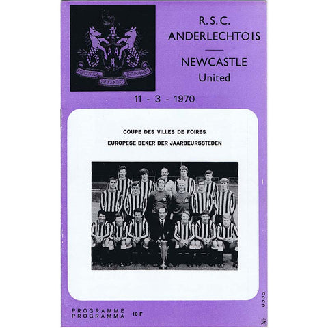 Anderlecht v Newcastle United | 11 March 1970 | UEFA Cup Programme | The Mag Shop