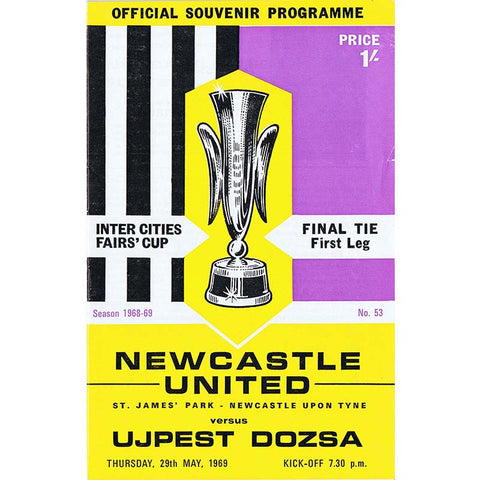 Newcastle United v Ujpest Dozsa | 29 May 1969 | UEFA Cup Programme | The Mag Shop