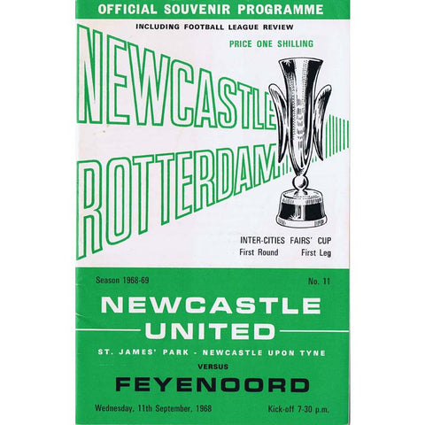 Newcastle United v Feyenoord | 11 September 1968 | UEFA Cup Programme | The Mag Shop