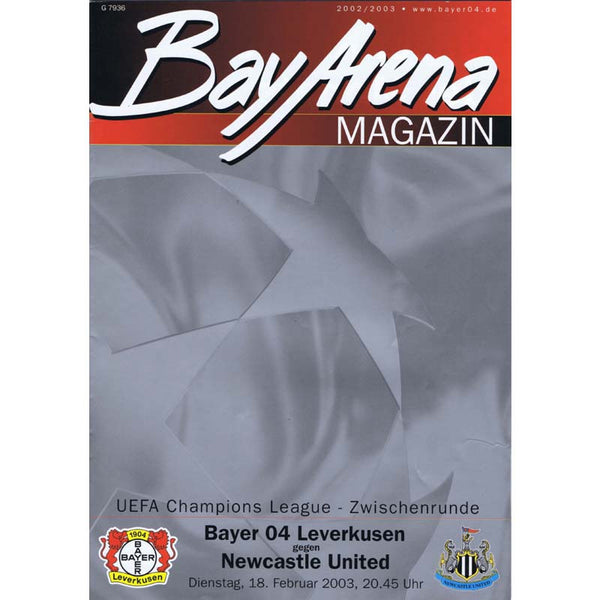 Bayer Leverkusen v Newcastle United | Champions League 18 February 2003 Programme | The Mag Shop