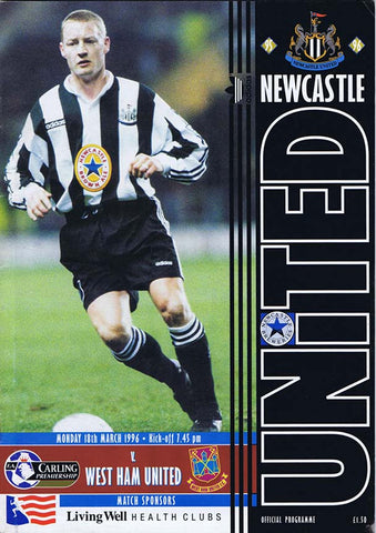 Newcastle United v West Ham 18 March 1996 Premiership Programme The Mag Shop