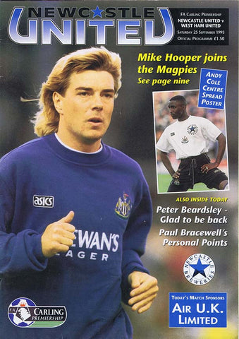 Newcastle United v West Ham | 25 Sept 1993 | Programme | The Mag Shop