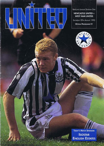 Newcastle United v West Ham | 29 August 1992 | Programme | The Mag Shop