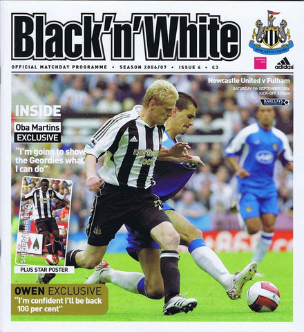 Newcastle United v Fulham | 9 Sept 2006 | Programme | The Mag Shop