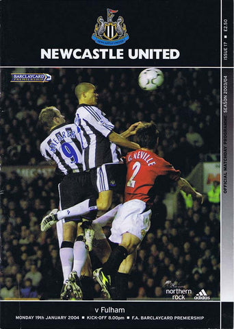 Newcastle United v Fulham 19 January 2004 Programme The Mag Shop