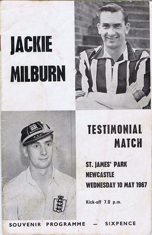 Jackie Milburn | Newcastle United | Testimonial Match | 10 May 1967 | Souvenier Program