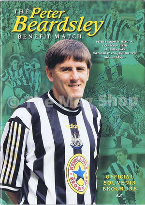 Peter Beardsley Newcastle United | Testimonial Match | 27 January 1999 | Signed Souvenier Programme | The Mag Shop