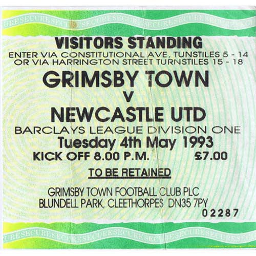 Grimsby Town v Newcastle United | 4 May 1993 | League One Champions Ticket | The Mag Shop