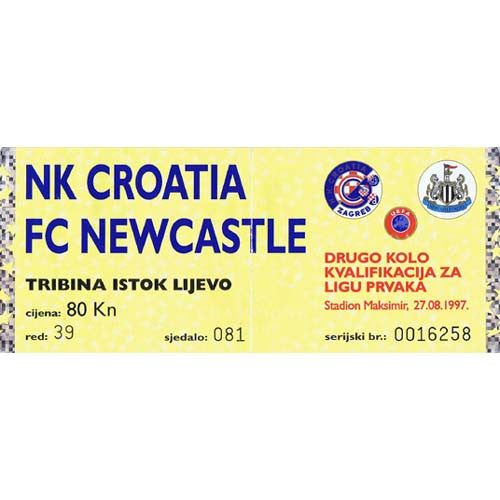 Croatia Zagreb v Newcastle United | 27 August 1997 | UEFA Champions League Ticket | The Mag Shop