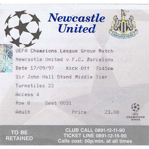 Newcastle United  v Barcelona | 17 September 1997 | UEFA Champions League Ticket | The Mag Shop
