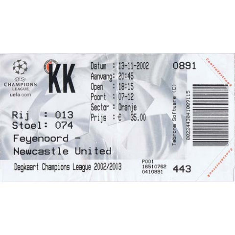 Feyenoord v Newcastle United | 13 November 2002 | UEFA Champions League Ticket | The Mag Shop