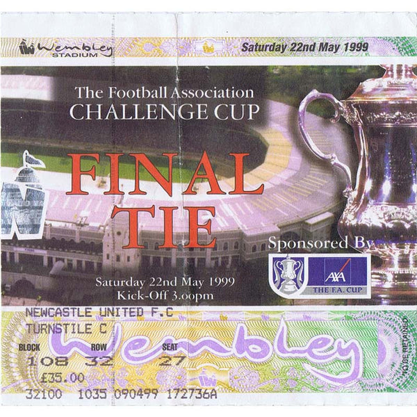 Newcastle United  v Manchester United | 22 May 1999 | FA Cup Final Ticket | The Mag Shop