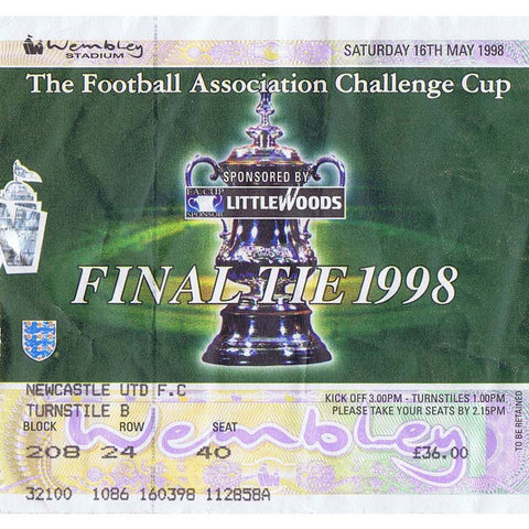 Newcastle United v Arsenal | 16 May 1998 | FA Cup Final Ticket | The Mag Shop
