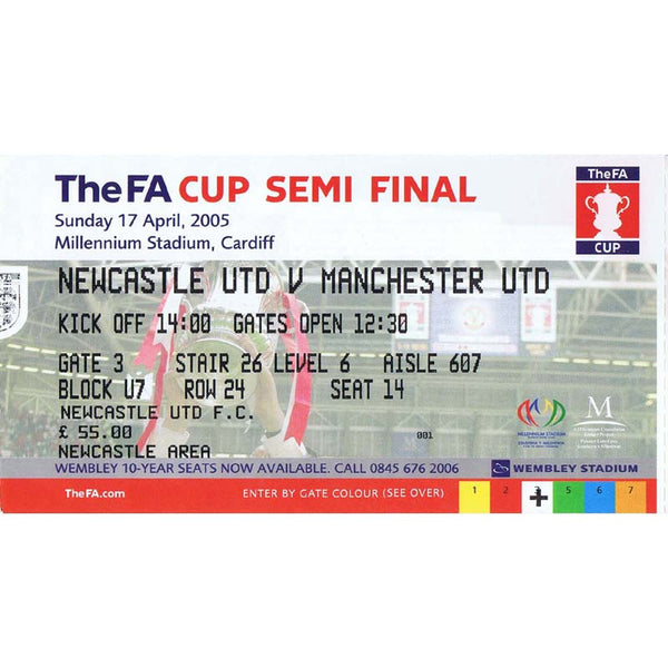Newcastle United  v Manchester United | 17 April 2005 | FA Cup Semi Final Ticket | The Mag Shop