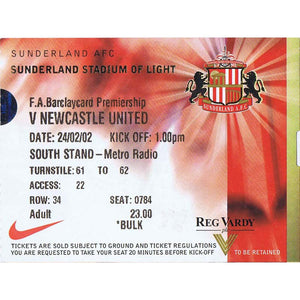 sunderland v Newcastle United | 24 February 2002 | Premiership Ticket | Nicos Dabizas | The Mag Shop