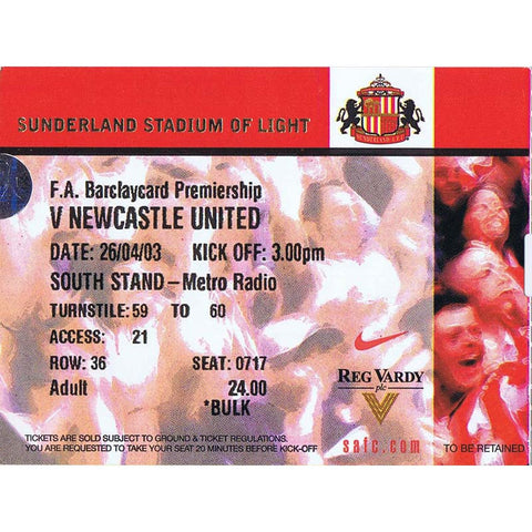 sunderland v Newcastle United | 26 April 2003 | Premiership Ticket | Nolbero Solano | The Mag Shop