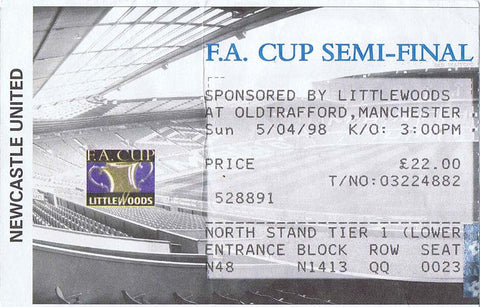 Newcastle United v Sheffield United 1998 FA Cup Semi-Final Ticket | NUFC The Mag