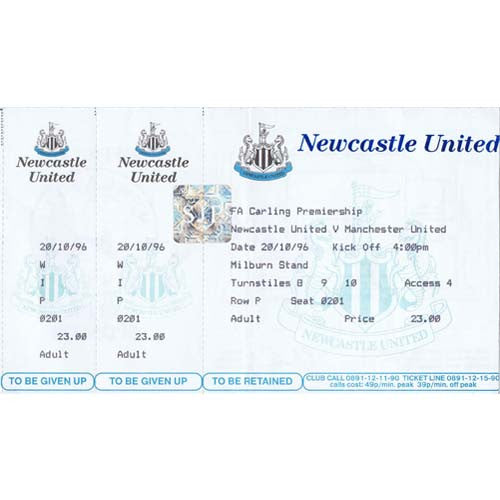 Newcastle United  v Manchester United | 20 October 1996 | Premiership Ticket | The Mag Shop