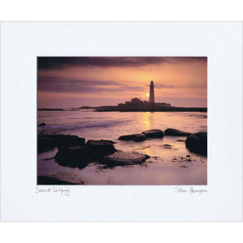 St Mary's Lighthouse | Whitley Bay | Colour Photographic Mounted Print | Tyneside Prints