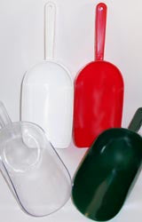 Scoops: 16 oz. large plastic scoops in four colors: Red, White, Clear and Forest Green. Scoops-Scoops.com