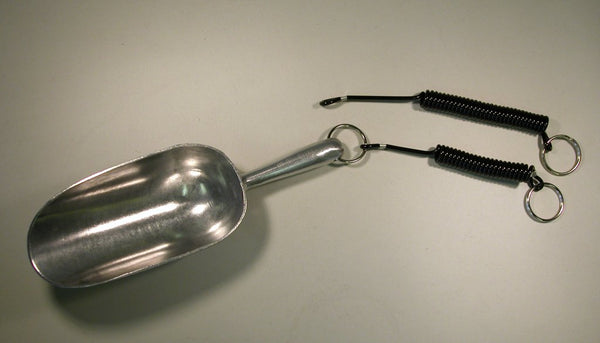 aluminum scoop with tether.