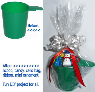 DIY holiday project. Round 6 ounce cup candy scoop or coffee or laundry scoop. Forest Green.