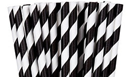 Paper straws, Black striped. Paper straws NOT plastic straws. Stop Sucking