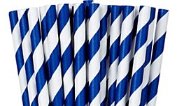Paper straws, Royal blue striped. Paper straws NOT plastic straws. Stop Sucking