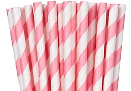 Paper straws, Pink striped. Paper straws NOT plastic straws. Stop Sucking