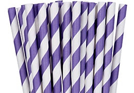 Paper straws, Purple striped Paper straws NOT plastic straws. Stop Sucking
