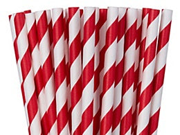 Paper straws, Red striped. Paper straws NOT plastic straws. Stop Sucking