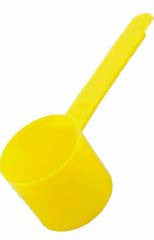 Coffee Scoops: Yellow plastic 2 oz. scoop. More of a traditional old fashioned scoop. Scoops-Scoops.com