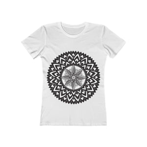 Mandala White and Black Women's  Tee - Sutra Wear