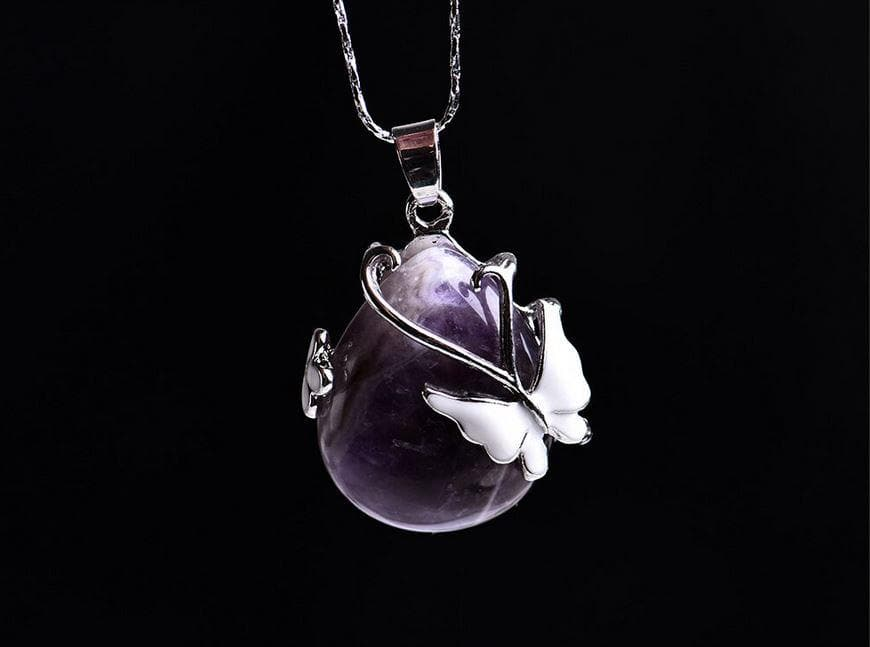 Butterfly Water Drop Amethyst Crystal Pendant - Sutra Wear