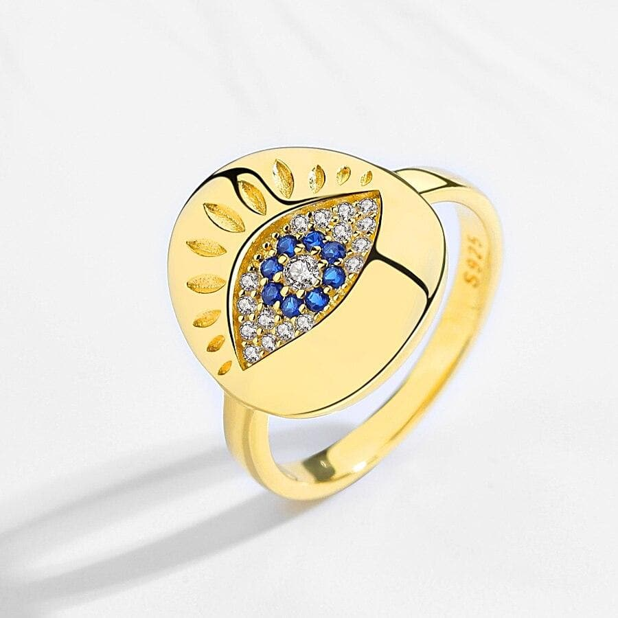 Evil Eye 925 Sterling Silver Gold Plated Ring