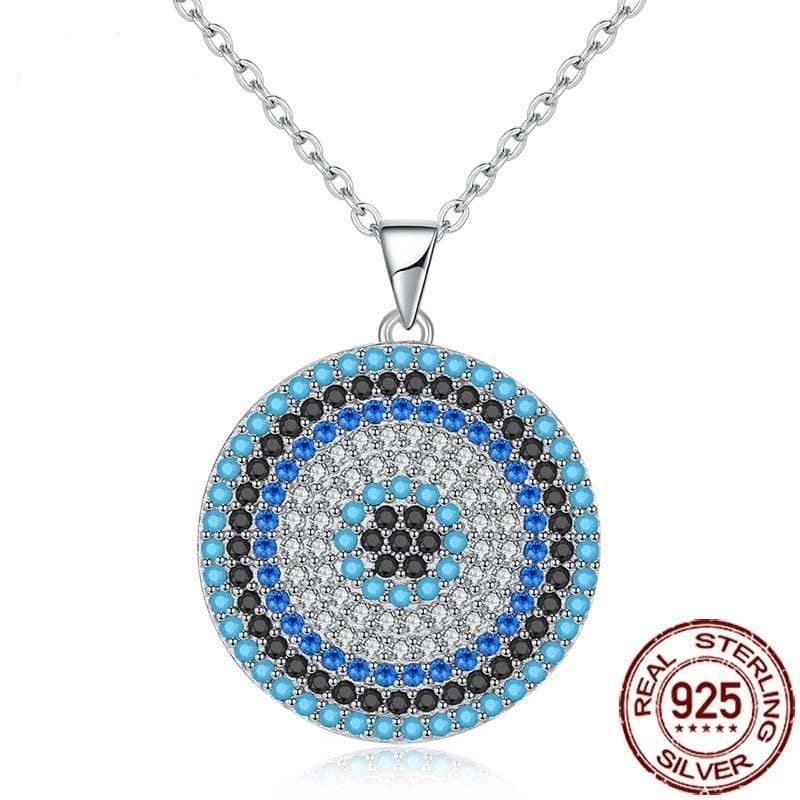 Big Evil Eye Stone 95 Sterling Silver Necklace - Sutra Wear
